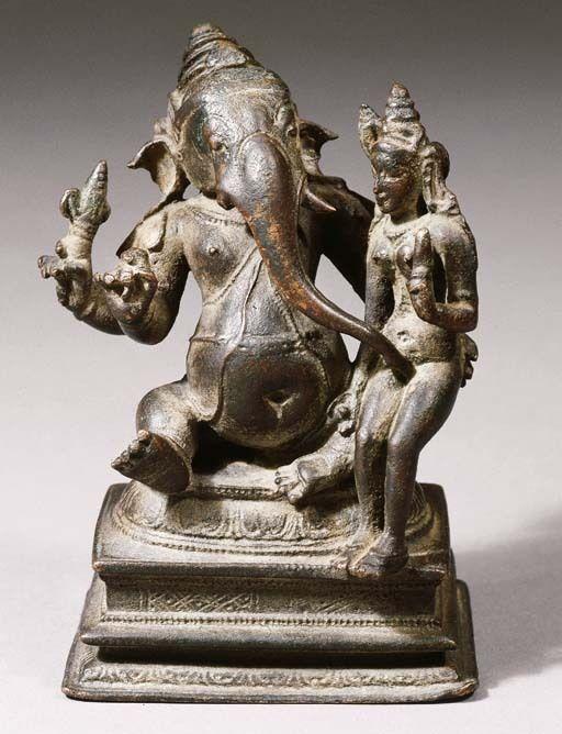"hinducosmos: "" Mahaganapati with Shakti 11th centurya Chola dynasty, South india, Bronze figure. "" Mahā Gaṇapati with Siddhī 11th Century Cola Bronze Thanjavur region"