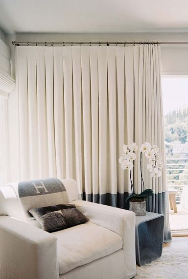 Just gorgeous - straight curtains with inverted pleat heading, and contrast edging (banding)