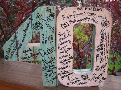 Cardboard, modge podge & scrapbook paper. Everyone sign.