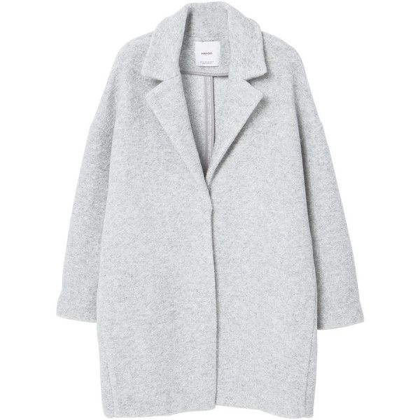 Lapels Wool Coat (£70) ❤ liked on Polyvore featuring outerwear, coats, jackets, coats & jackets, mango coats, lapel coat, long sleeve coat, woolen coat and lapels wool coat
