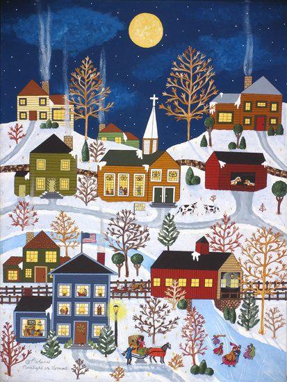 "Folk Art Winter print by Medana Gabbard titled ""Moonlight In Vermont"""