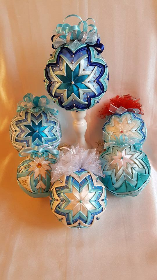 Vintage blue quilted ornament baubles/Italian style/Victorian Folded Fabric Christmas ornament/Quilted no sew fabric Christmas ornament by AngelsHandmadeCrafts on Etsy
