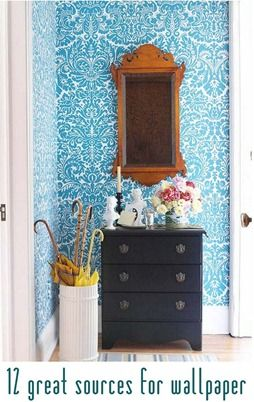 wallpaper sources: Idea, Hallways, Color, Blue Wallpapers, House, Umbrellas Stands, Small Spaces, Entryway, Accent Wall