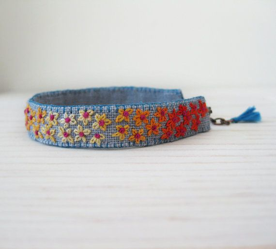 Floral Boho Embroidered Cuff Bracelet  Orange and by Sidereal