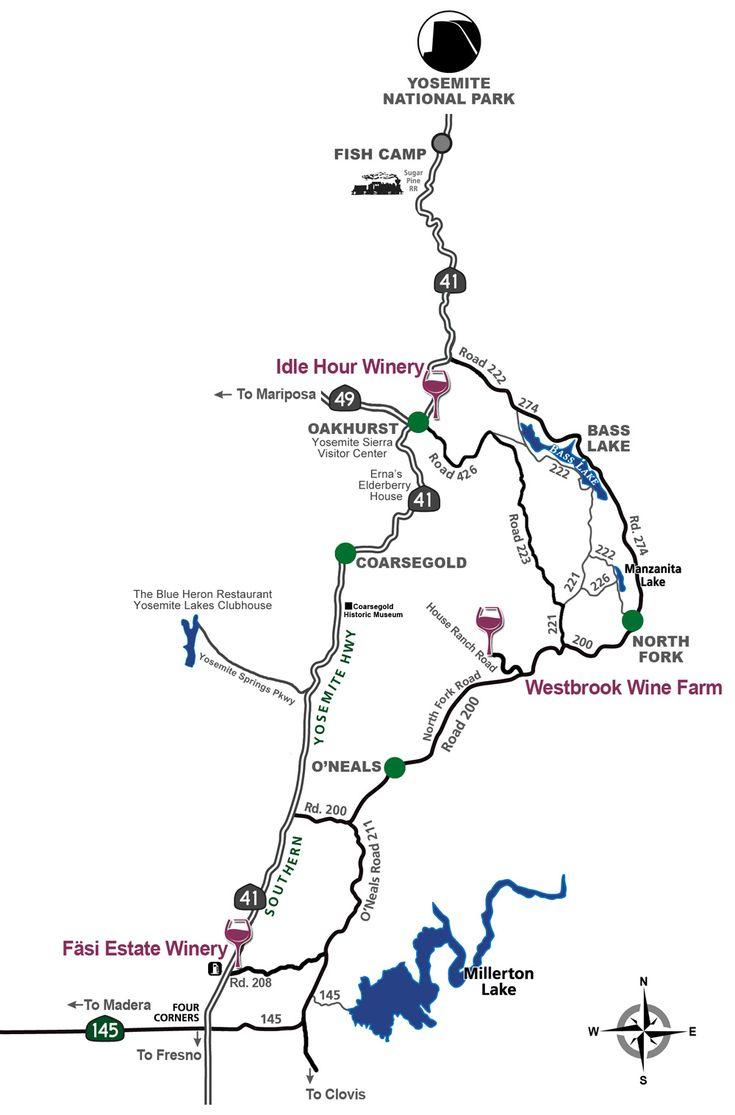 Wine road map yosemite sierra wine road yosemite map