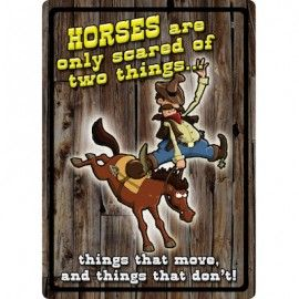 Horses are scared of two things - Tin Sign