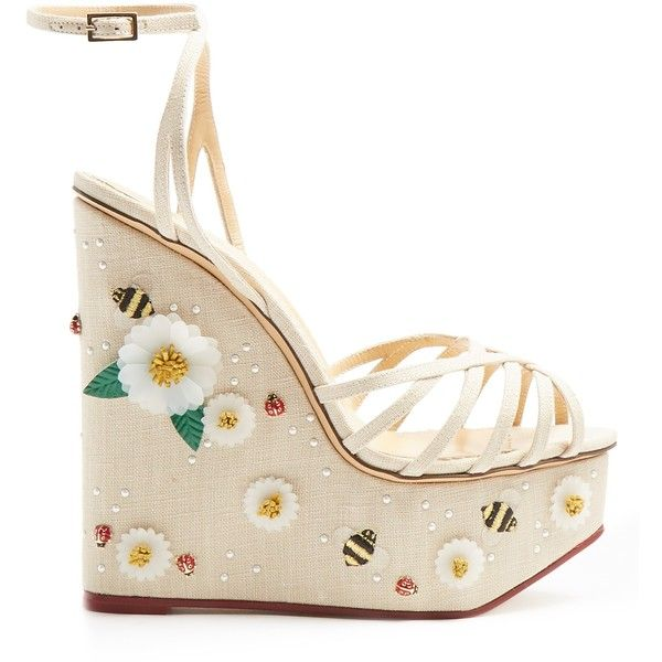Charlotte Olympia Floral Meredith linen wedge sandals (1,835 CAD) ❤ liked on Polyvore featuring shoes, sandals, platform shoes, white sandals, white wedge shoes, wedge sandals and nude wedge sandal
