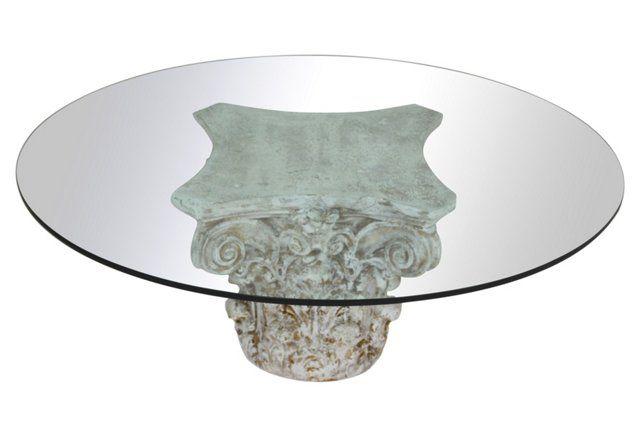 Roman Column Glass-Top Coffee Table