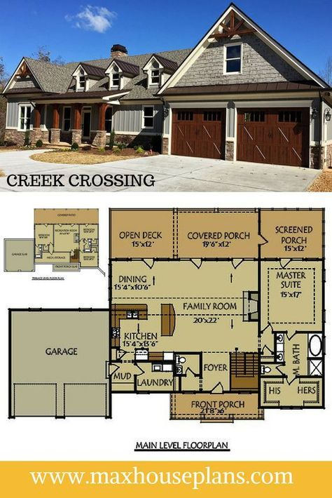 Creek Crossing is a 4 bedroom floor plan ranch house plan with a walkout basement and ample porch space. Horizontal siding, stone accents and over sized gables add a creative mixture of architectural details to the exterior.