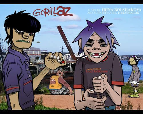 Gorillaz at the Beach - 2d-vs-murdoc Photo