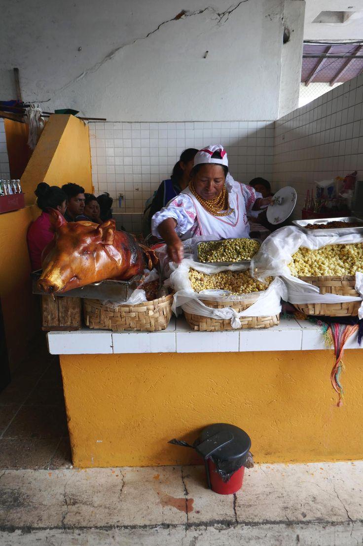 One of the few hornados stands at Mercado Municipio in Otavalo, Ecuador | heneedsfood.com