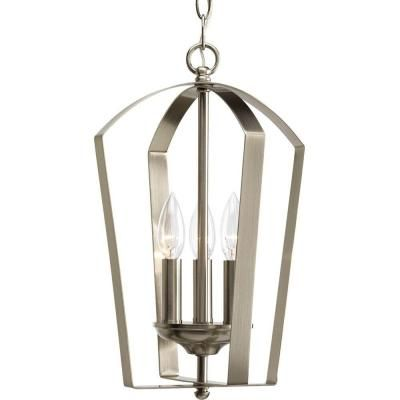 Progress Lighting Gather Collection 3-Light Brushed Nickel Foyer Pendant-P3928-09 - The Home Depot