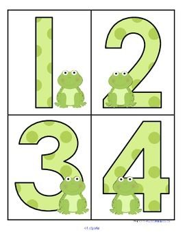 ***FREE*** This is a set of large numbers 0-20 with a FROGS theme. 4 numbers to a page. Use to make matching and recognition games for early learners. Large enough for flash cards, and bulletin board and room décor.  I have included a set of matching 10-frame cards to use if you would like to create a center.