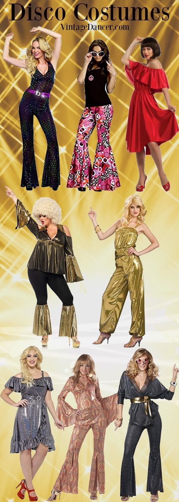 Disco Costumes For Women 70s Disco Jumpsuits Dresses Bell Bottom Outfits Disco Halloween Costumes At Vintageda Disco Outfit Disco Fashion 70s Fashion Disco [ 1680 x 600 Pixel ]
