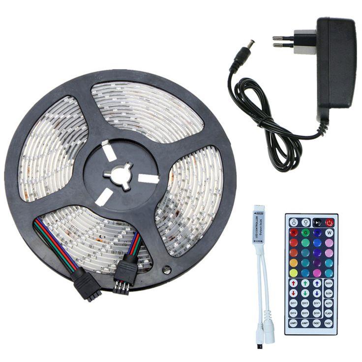 5 m 10 m RGB LED Strip Kit SMD Tahan Air Fleksibel Pita IP65 60 leds/m Tali Pencahayaan Dengan 44key IR Remote Controller + DC 12 V Adapter