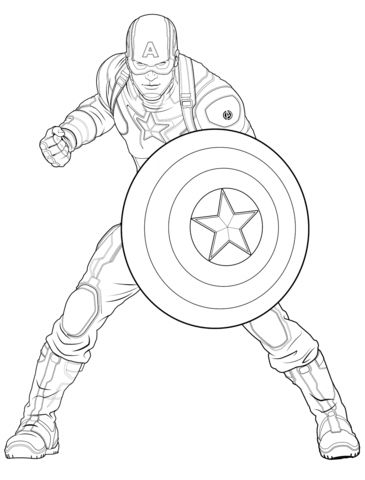 Avengers Captain America coloring page from Marvel's The Avengers category. Select from 25763 printable crafts of cartoons, nature, animals, Bible and many more. - Visit to grab an amazing super hero shirt now on sale!