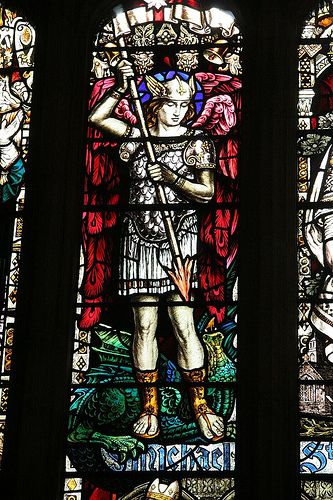 In my Church, we have a stained glass window of St. Michael. If you ever see one, walk up close and look at the details. Incredible. What an art!