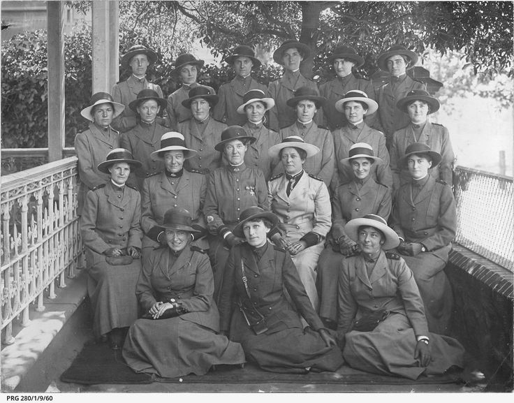 Twenty two nurses photographed prior to leaving South Australia during World War I. These nurses were tendered a farewell at the Edith Cavell Army Nurses' Clubrooms, North Terrace, on Wednesday 20 December 1916. Back Row: Sisters Elsie Louise Steadman, Ivy Jessie Rodgers, Daisy Jane Wright, Edith Emily Faulkner, Elizabeth Scholastica Dailey and Elfrida J.M. Lapidge. Second Row: Sisters Dora Hannah Birks, Florence Maud Tabor, Sarah Ann Lord, Rosetta Lee Rushton, Florence May Laity, Kathleen…