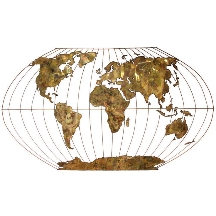Massive World Globe Curtis Jere Style Wall Sculpture. Wall sculpture in the style of C. Jere, brass & copper painted metal, unsigned, large scale, possible custom piece. | From a unique collection of antique and modern wall-mounted sculptures at http://www.1stdibs.com/wall-decorations/wall-mounted-sculptures/