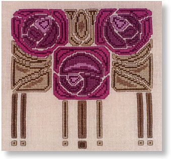Mackintosh roses cross-stitch design.