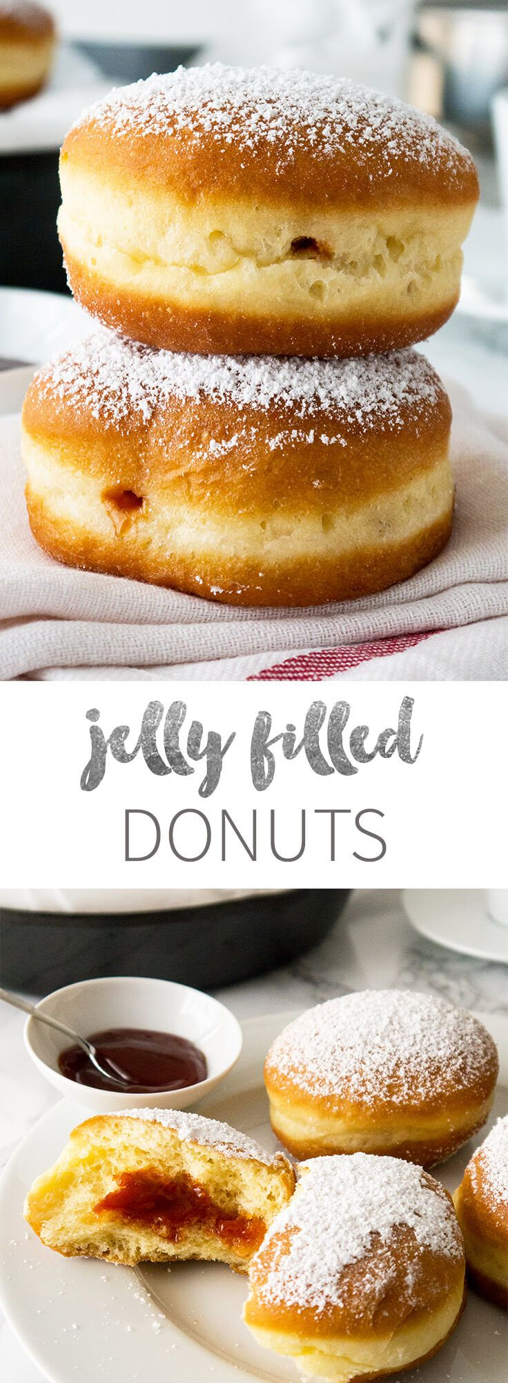 Jelly filled Donuts - sprinkled with confectioners' sugar and filled with rose hip jelly! These sweet treats are known as Krapfen in Germany.