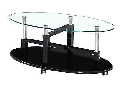 Coffee Table with High Gloss Clear Glass Top and lockable Wheels available in…