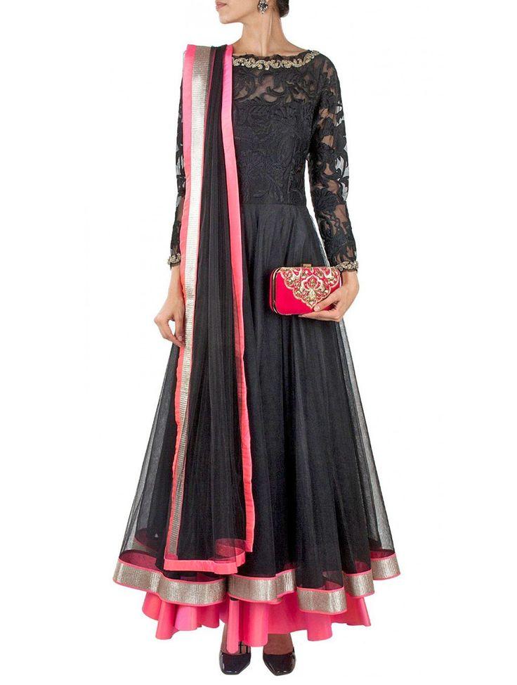 Blazing Black & Pink Bollywood Replica Salwar Suit. #BollywoodReplicaSuit #BollywoodDesignerSuit #BollywoodAnarkaliSuit #WeddingAnarkaliSuit #PartyWearAnarkaliSuit