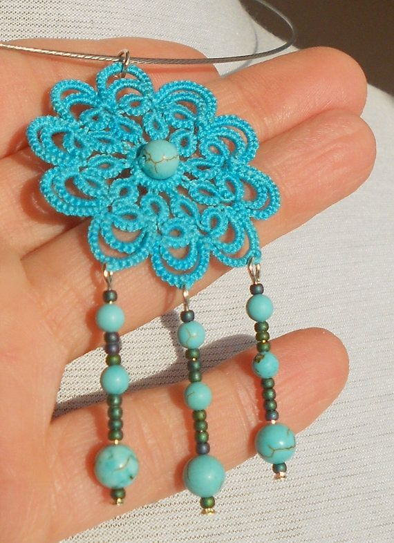 """Floral lace necklace, tatted - turquoise - """" Sleeping Beauty"""" collection. $35.00, via Etsy."""
