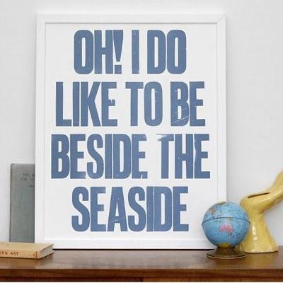 beside the seaside letterpress print