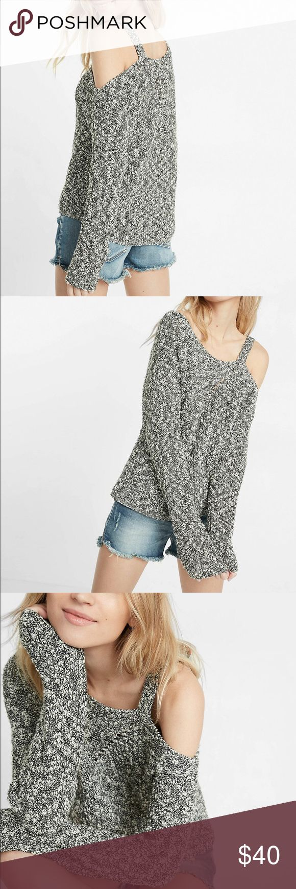 NWT One Shoulder Hi-Lo Cutout Sweater from Express When you and your fave sweater need a break, try out this hi-lo, one shoulder wonder. Color is Marled Gray. The cozy, substantial shaker knit delivers a comfortable layer of warmth over curve-loving, distressed denim leggings ALSO LISTED. Express Tops Sweatshirts & Hoodies