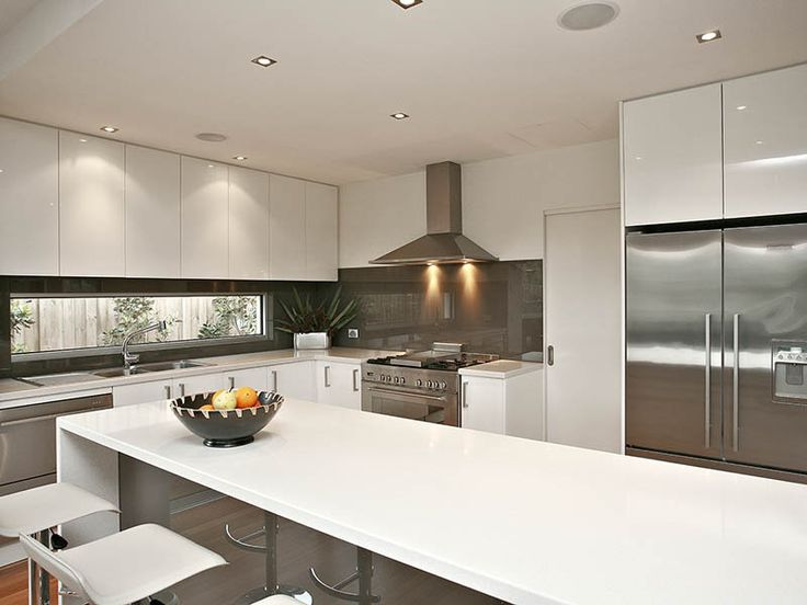 kitchens image: down lighting, side-by-side fridge - 439906
