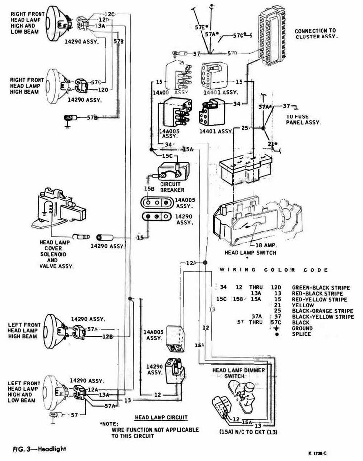 headlight schematic diagram of 1967 1968 thunderbird (With