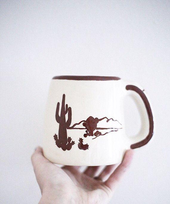 Vintage Southwestern coffee Mug / Cacti Mug by CKDesignCo on Etsy