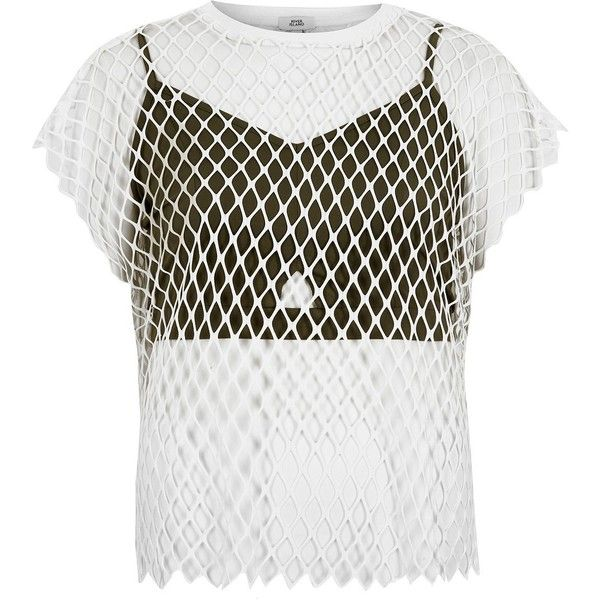 River Island White Mesh Bralette T Shirt 52 Liked On