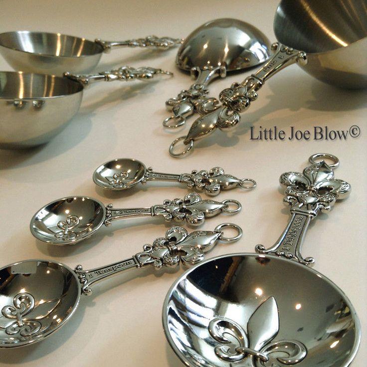 Metal Measuring Cups and Spoons Set Fleur De Lis - Free Shipping