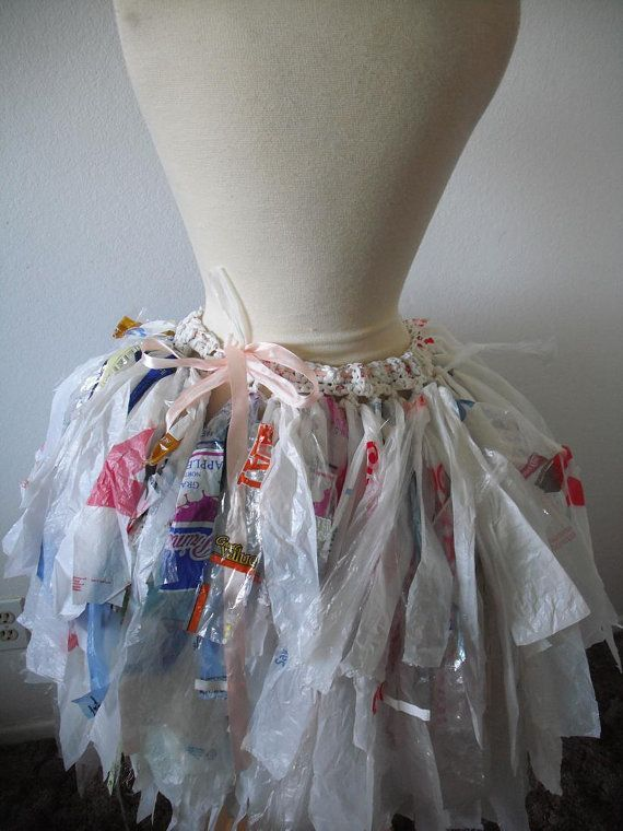 Turn Recycled Plastic Bags into a wearable clothes. Fashion forward and unique! This one was made by a designer. Designer image details: Tutu by CoCoRaeCrochet on Etsy, $185.00