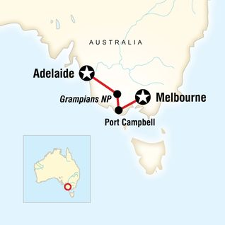 Map of Great Ocean Road East–Adelaide to Melbourne