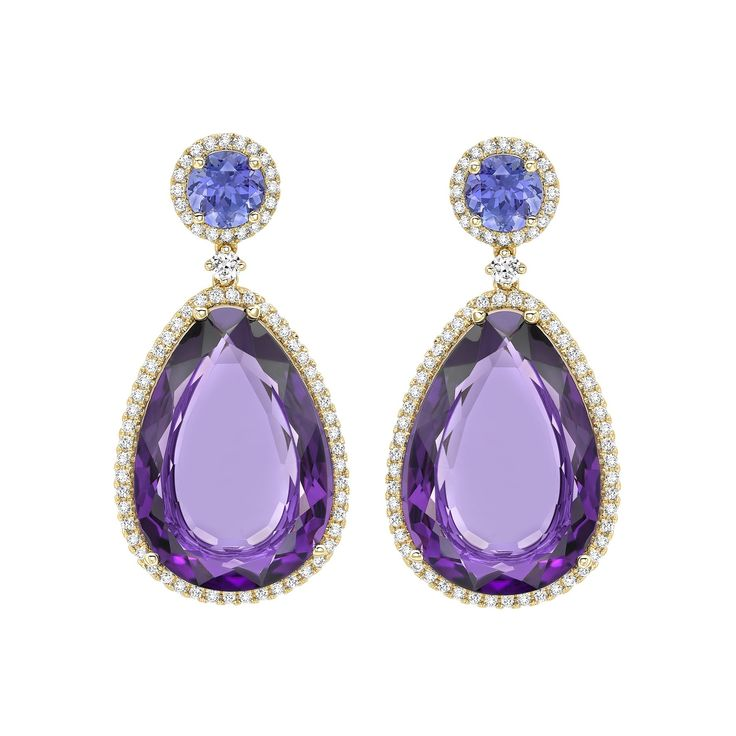 Candy Tanzanite and Amethyst Drop Earrings, pretty round tranzanites surrounded by delicate diamonds set in 18k yellow Gold from the Candy collection