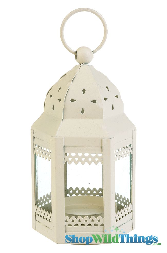 """This Mini Taj Hurricane Candle Lantern is so adorable!  The base is 2.5"""" in diameter and it's 4.5"""" high with a sturdy 1"""" loop for hanging.  The dome of this beige lantern has tiny teardrop cutouts and"""