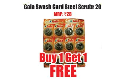 Buy 1 get 1 free on Gala Swash card steel scrubber. Valid only at Heritage Fresh Outlets in Bangalore.