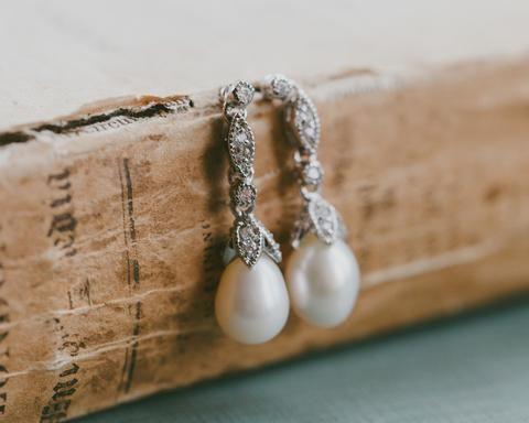 Wedding Earrings - Crystal Encrusted Freshwater Pearl Drop Earrings, Beverly