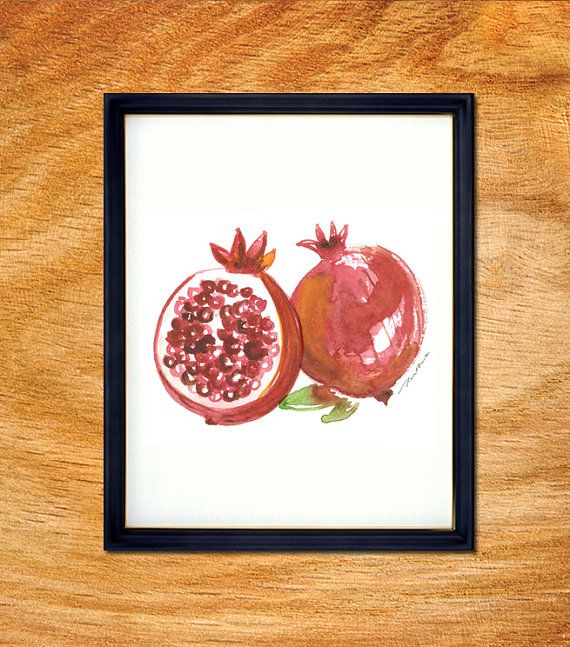 Attractive Pomegranate Watercolor Painting, Kitchen Art, Fruit Art, Nature Print, Food  Artwork,
