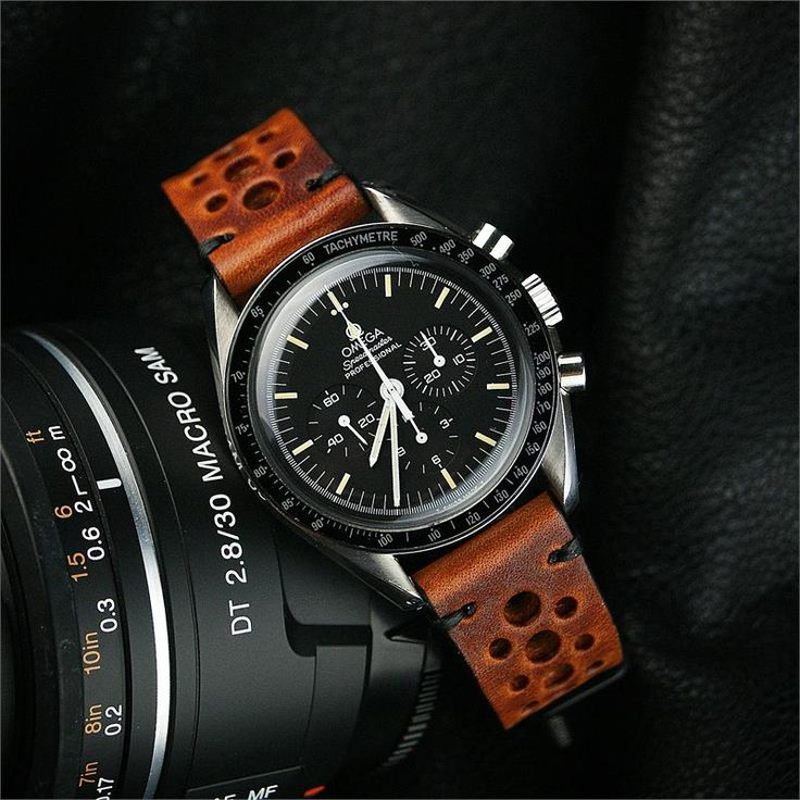 Vintage Racing Strap made from Cognac Italian Leather on the Omega Speedmaster professional 20mm BandRBands