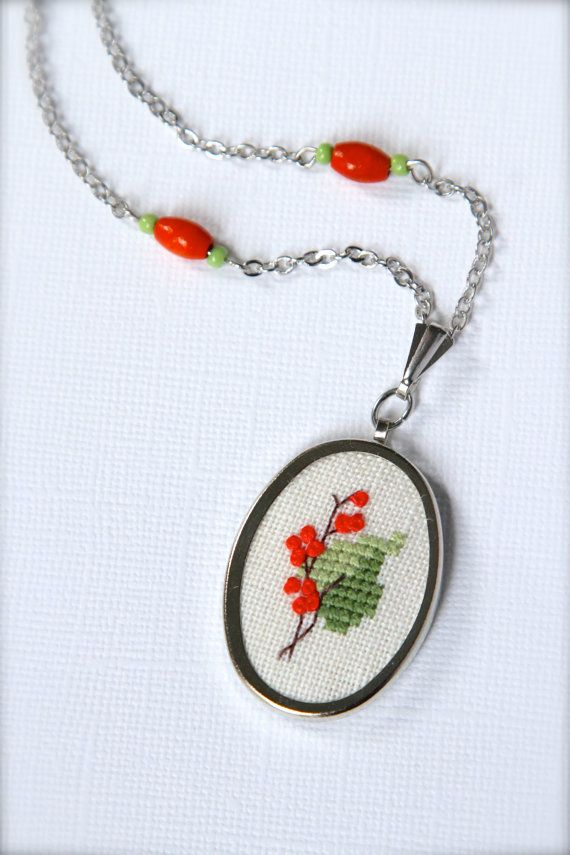 Tree branch in blossom necklace - Embroidered necklace - Forest jewelry - Twig necklace - Cross stitch jewelry - Leaf - Green and coral