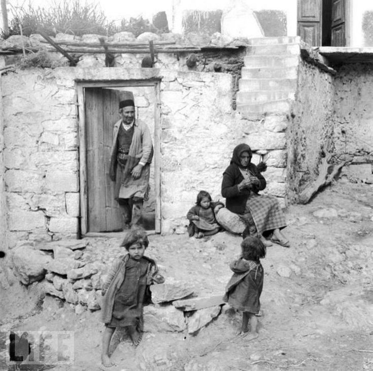 Greek Cretan family in Crete, Greece in 1947 | source: