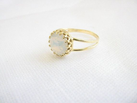 Gold opal ring gold ring with white opal crystal by MoonliDesigns