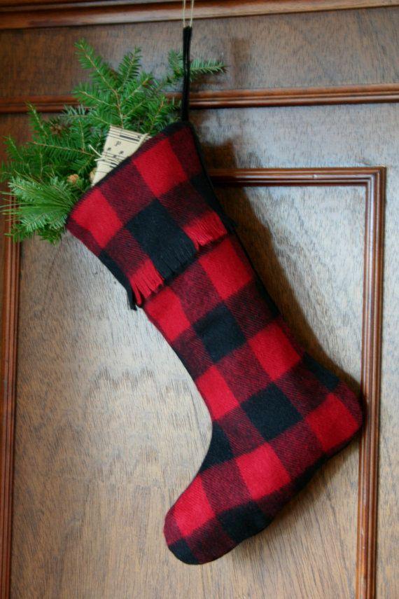 Red and Black Buffalo Check Christmas Stocking ...