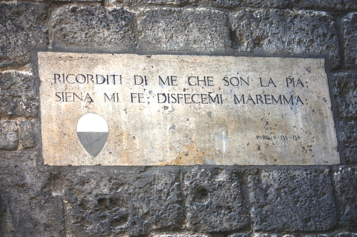 "Pia de' Tolomei text gravure - ""Remember me, the one who is Pia;  Siena made me, Maremma undid me"" (by Dante Alighieri)"