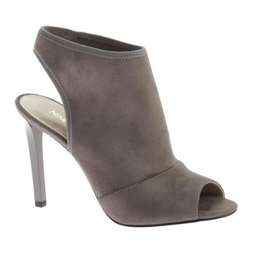 Nine West Women's Levona Peep-Toe Bootie, Size: 10 M, Grey Stretch Fabric