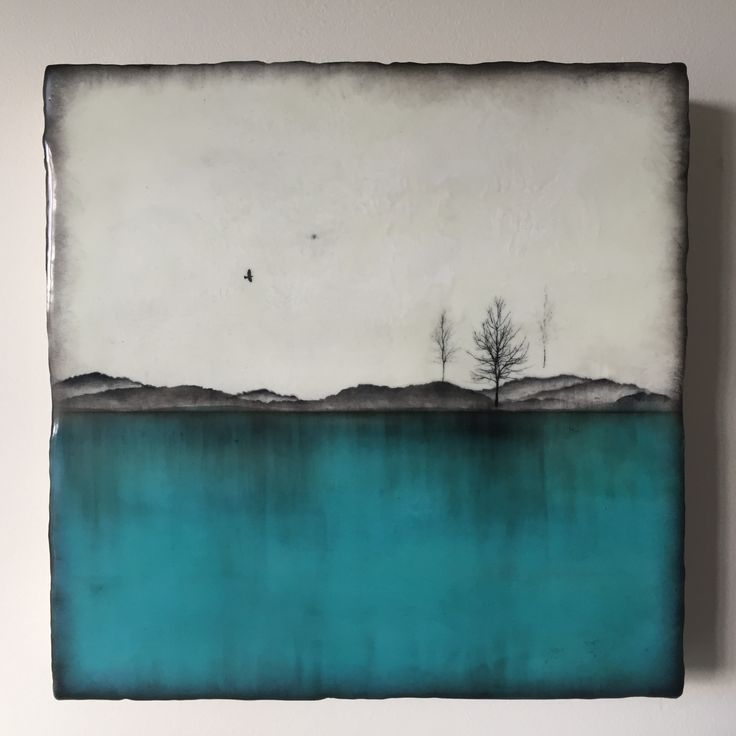 """Above Turquoise"" 10""x10"" Encaustic artwork                                                                                                                                                                                 More"